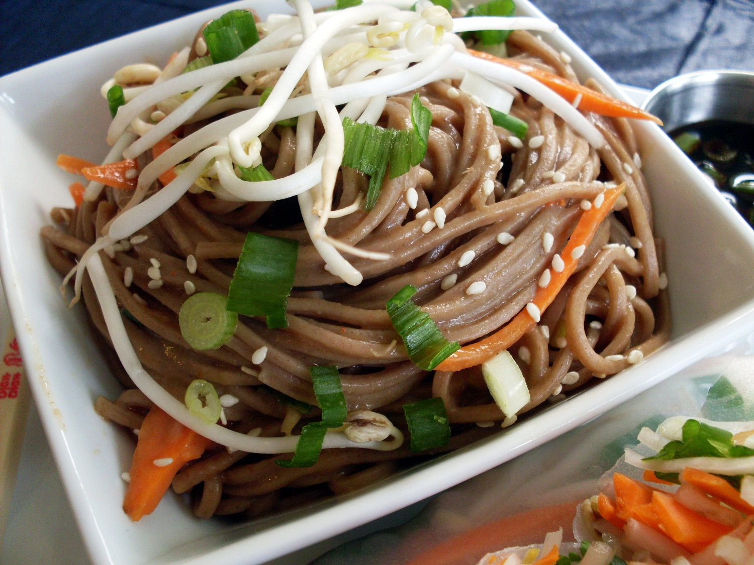 Soba Noodles With Vegetables And Fresh Spring Rolls With Peanut Sauce