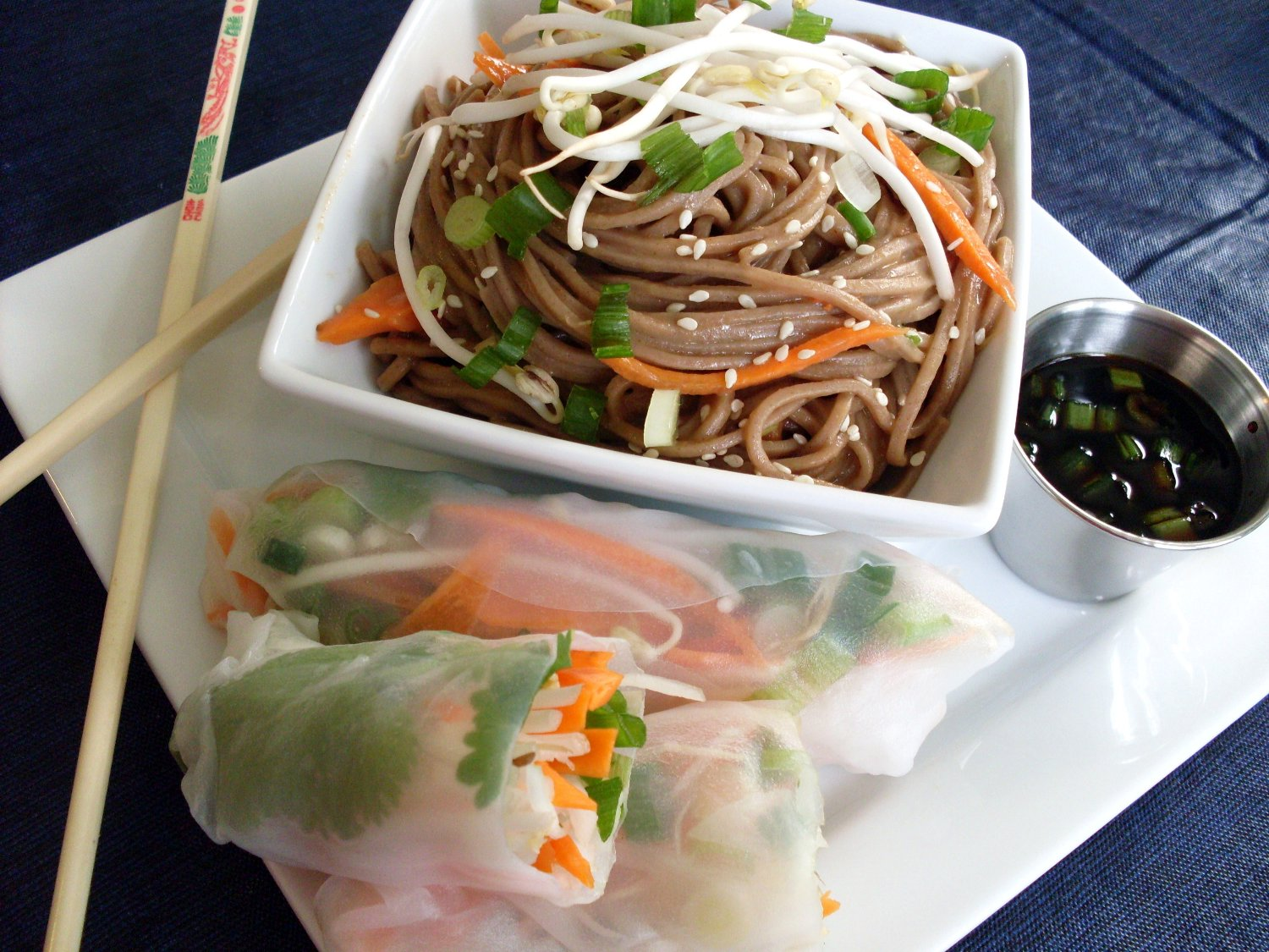 Soba Noodles With Vegetables And Fresh Spring Rolls With Peanut Sauce ...
