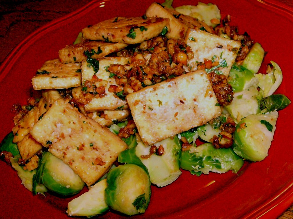 BSI Challenge: Caramelized Tofu Over Brussels Sprouts   Veronica's ...