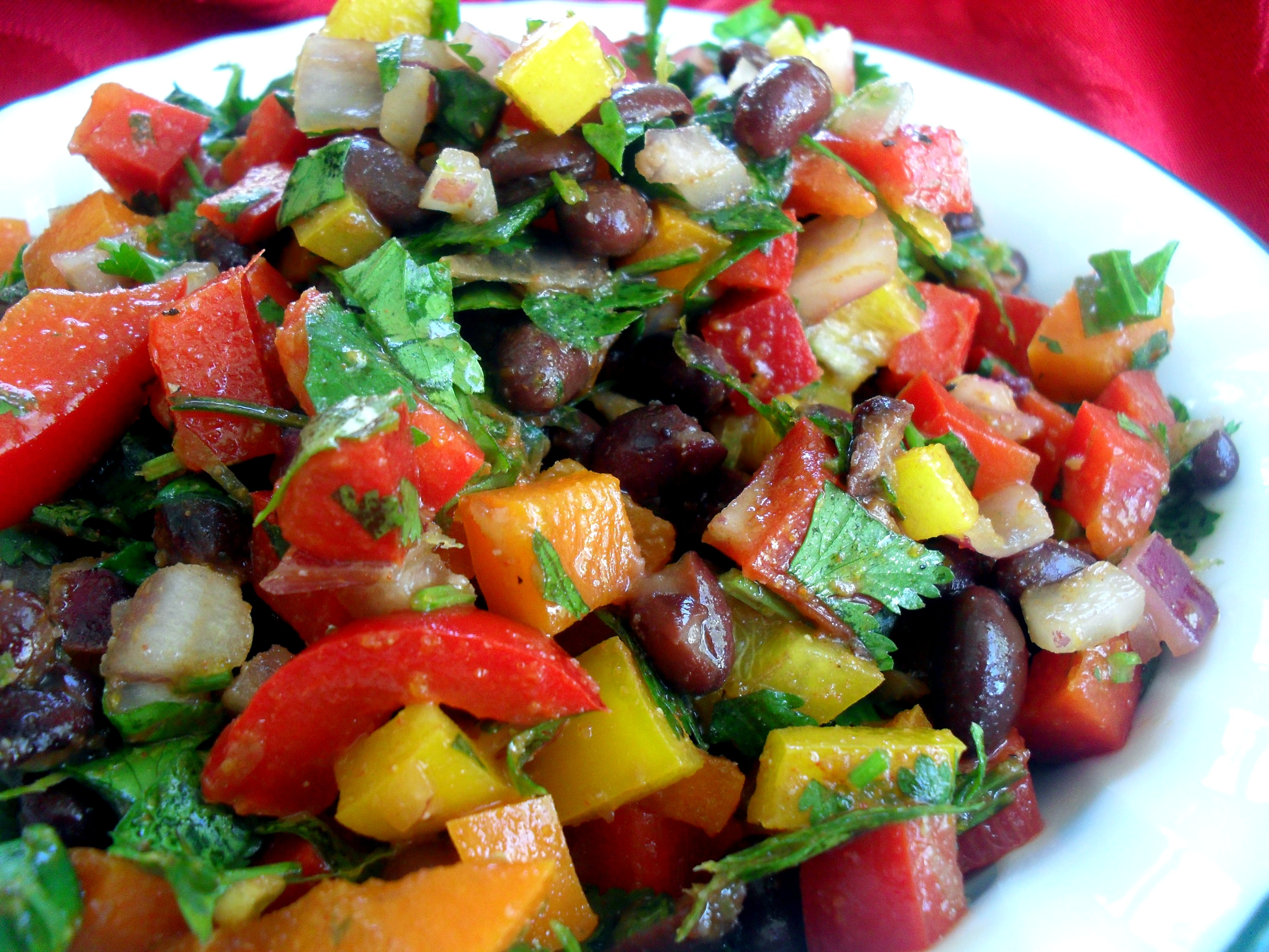 Black Bean and Pepper Salad with Cilantro & Lime