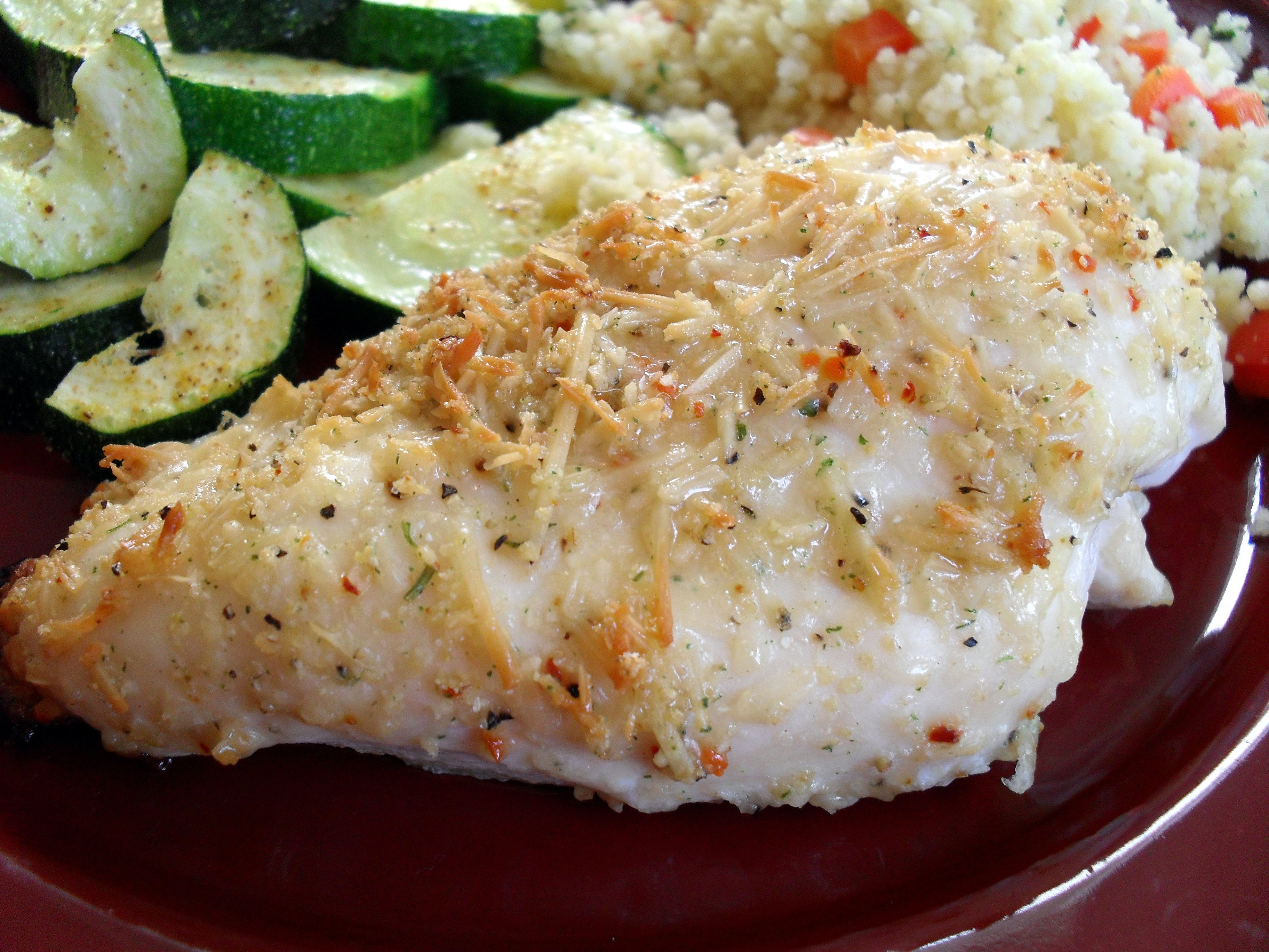... Easy Parmesan Garlic Chicken with Roasted Garlic Couscous & Zucchini